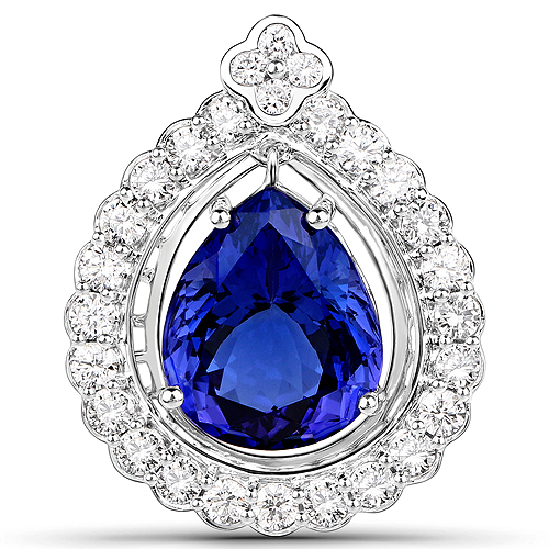 Tanzanite-10.39 Carat Genuine Tanzanite and White Diamond 18K White Gold Pendant