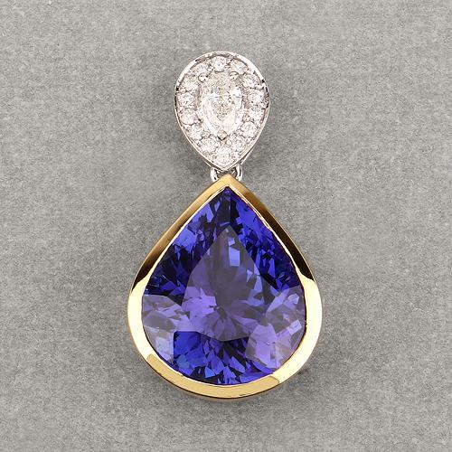 10.48 Carat Genuine Tanzanite and White Diamond 18K White Gold Pendant