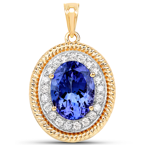 11.31 Carat Genuine Tanzanite and White Diamond 18K Yellow Gold Pendant