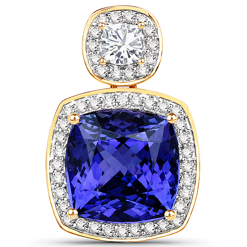 Tanzanite-9.25 Carat Genuine Tanzanite and White Diamond 18K Yellow Gold Pendant