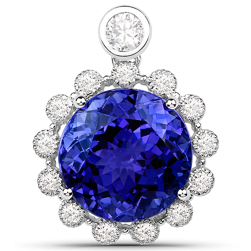 Tanzanite-14.36 Carat Genuine Tanzanite and White Diamond 18K White Gold Pendant