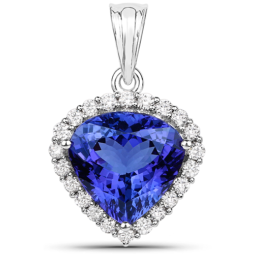 Tanzanite-9.21 Carat Genuine Tanzanite and White Diamond 18K White Gold Pendant