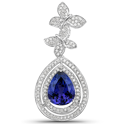 Tanzanite-10.53 Carat Genuine Tanzanite and White Diamond 18K White Gold Pendant