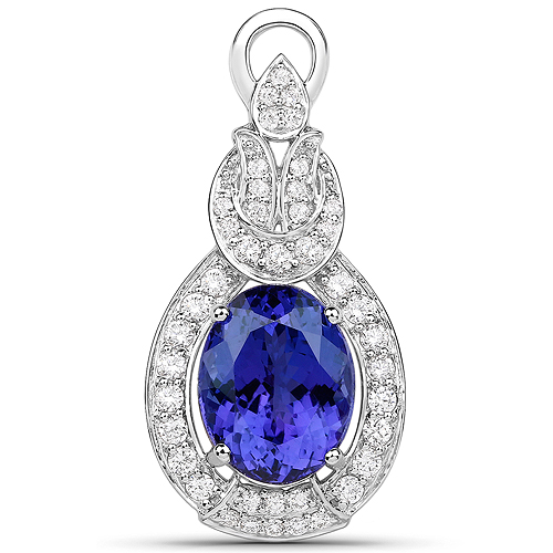Tanzanite-9.60 Carat Genuine Tanzanite and White Diamond 18K White Gold Pendant