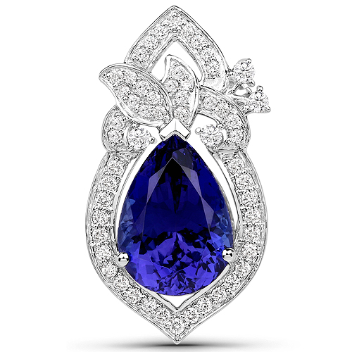 Tanzanite-8.91 Carat Genuine Tanzanite and White Diamond 18K White Gold Pendant