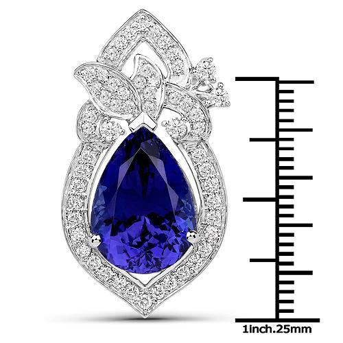 8.91 Carat Genuine Tanzanite and White Diamond 18K White Gold Pendant