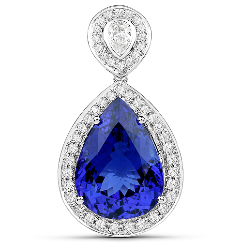 Tanzanite-15.17 Carat Genuine Tanzanite and White Diamond 18K White Gold Pendant