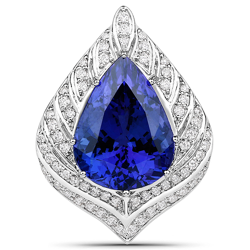 Tanzanite-13.25 Carat Genuine Tanzanite and White Diamond 18K White Gold Pendant