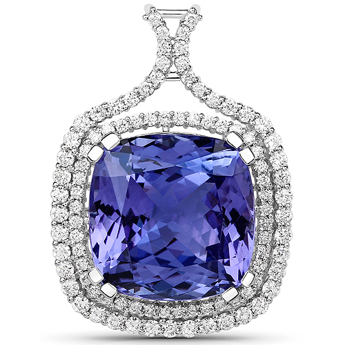 Tanzanite-16.65 Carat Genuine Tanzanite and White Diamond 18K White Gold Pendant