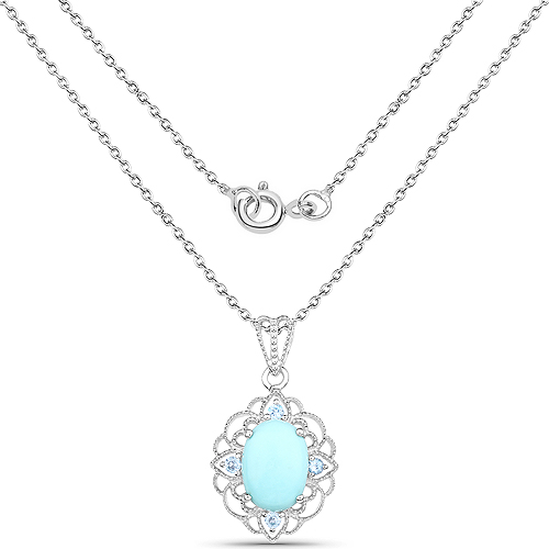 5.05 Carat Genuine Turquoise and Blue Topaz .925 Sterling Silver Pendant