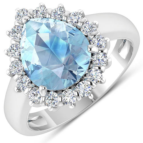 Rings-2.78 Carat Genuine Aquamarine and White Diamond 14K White Gold Ring