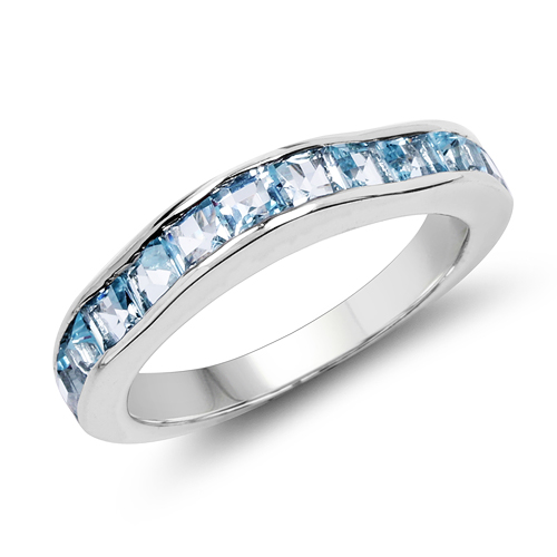 Rings-2.25 Carat Genuine Blue Topaz .925 Sterling Silver Ring
