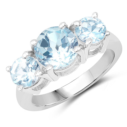 Rings-2.80 Carat Genuine Blue Topaz .925 Sterling Silver Ring