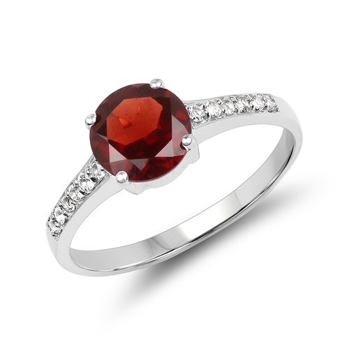 Garnet-1.66 Carat Genuine Garnet & White Topaz .925 Sterling Silver Ring