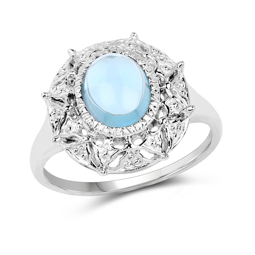 Rings-2.10 Carat Genuine Blue Topaz .925 Sterling Silver Ring