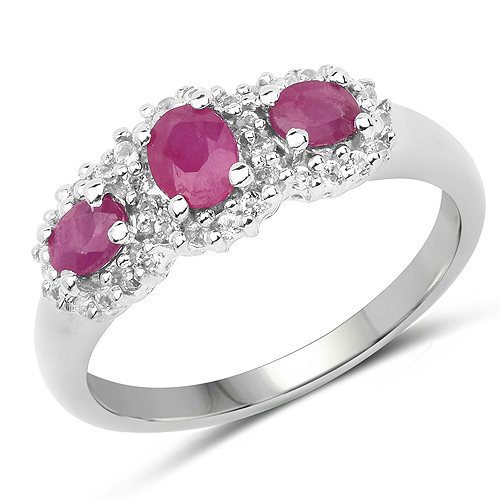 Ruby-0.91 Carat Genuine Ruby and White Topaz .925 Sterling Silver Ring