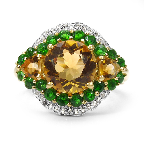 14K Yellow Gold Plated 4.13 Carat Genuine Golden Citrine, Chrome Diopside & White Topaz .925 Sterling Silver Ring