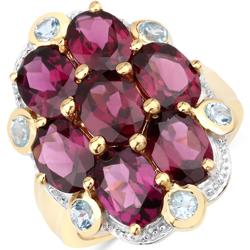Rhodolite-14K Yellow Gold Plated 11.22 Carat Genuine Rhodolite and Blue Topaz .925 Sterling Silver Ring