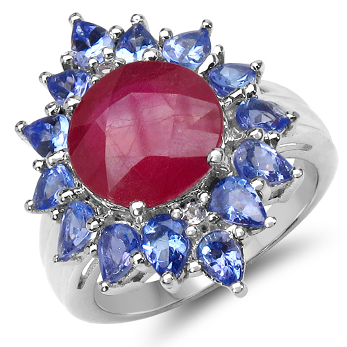 Ruby-6.20 Carat Genuine Glass Filled Ruby, Tanzanite & White Topaz .925 Sterling Silver Ring