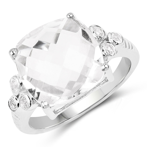 5.63 Carat Genuine Crystal Quartz & White Topaz .925 Sterling Silver Ring