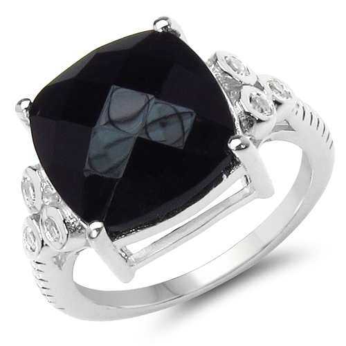 Rings-5.53 Carat Genuine Black Onyx & White Topaz .925 Sterling Silver Ring