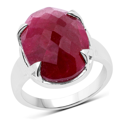 Ruby-13.50 Carat Dyed Ruby .925 Sterling Silver Ring