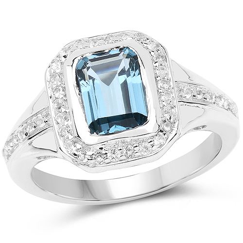 Rings-2.29 Carat Genuine London Blue Topaz and White Topaz .925 Sterling Silver Ring