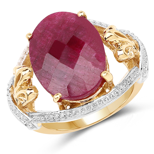 Ruby-14K Yellow Gold Plated 12.15 Carat Dyed Ruby .925 Sterling Silver Ring