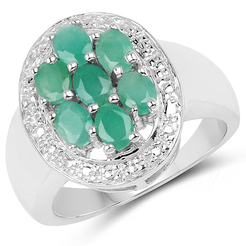Emerald-0.98 Carat Genuine Emerald .925 Sterling Silver Ring