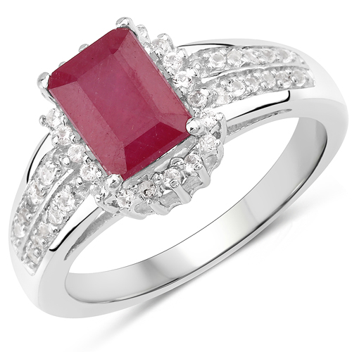 1.40 Carat Glass Filled Ruby and White Topaz .925 Sterling Silver Ring