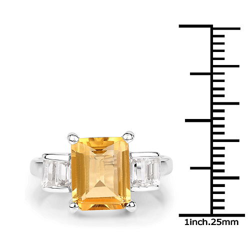 3.27 Carat Genuine Citrine and White Topaz .925 Sterling Silver Ring