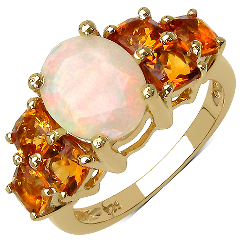 Opal-14K Yellow Gold Plated 3.30 Carat Genuine Ethiopian Opal and Citrine .925 Sterling Silver Ring