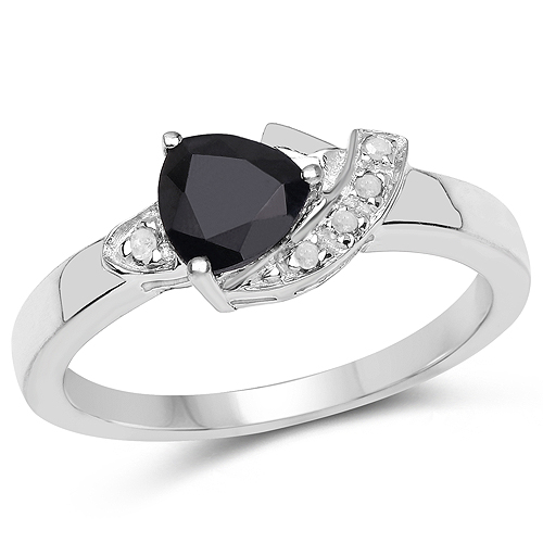 Sapphire-0.83 Carat Genuine Black Sapphire and White Topaz .925 Sterling Silver Ring