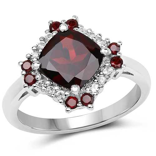 2.77 Carat Genuine Garnet and White Topaz .925 Sterling Silver Ring