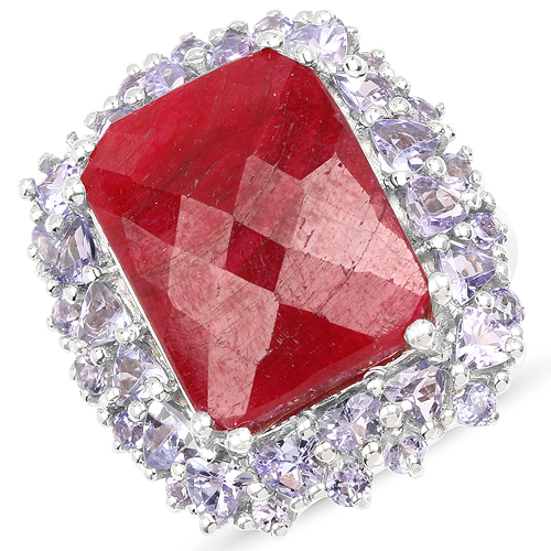 Ruby-15.13 Carat Dyed Ruby & Tanzanite .925 Sterling Silver Ring