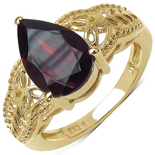 Garnet-14K Yellow Gold Plated 3.50 Carat Genuine Garnet .925 Sterling Silver Ring