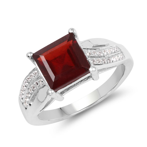 Garnet-2.99 Carat Genuine Garnet and White Topaz .925 Sterling Silver Ring