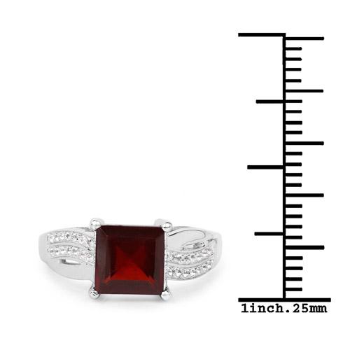 2.99 Carat Genuine Garnet and White Topaz .925 Sterling Silver Ring