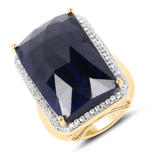 Sapphire-18K Yellow Gold Plated 25.41 Carat Dyed Sapphire and White Topaz .925 Sterling Silver Ring