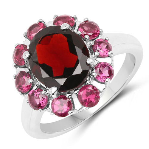 Garnet-5.85 Carat Genuine Garnet and Rhodolite .925 Sterling Silver Ring