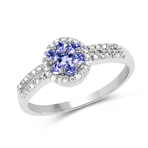 Tanzanite-0.51 Carat Genuine Tanzanite and White Topaz .925 Sterling Silver Ring