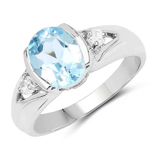 2.66 Carat Genuine Blue Topaz and White Topaz .925 Sterling Silver Ring