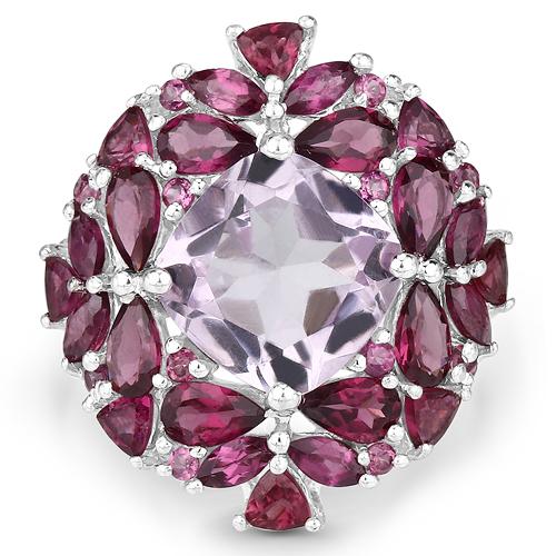8.19 Carat Genuine Pink Amethyst and Rhodolite .925 Sterling Silver Ring
