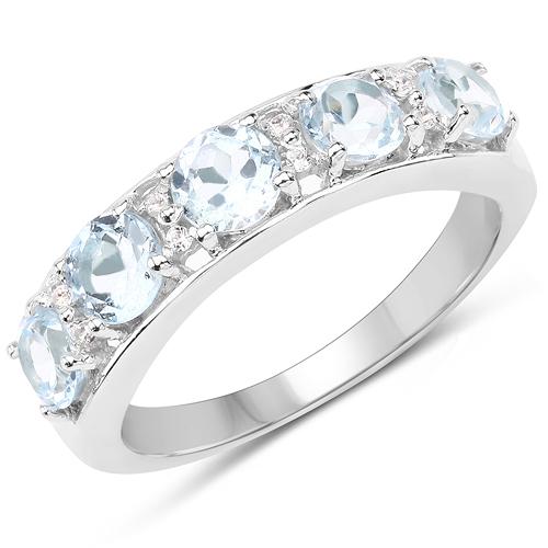 1.64 Carat Genuine Blue Topaz & White Topaz .925 Sterling Silver Ring