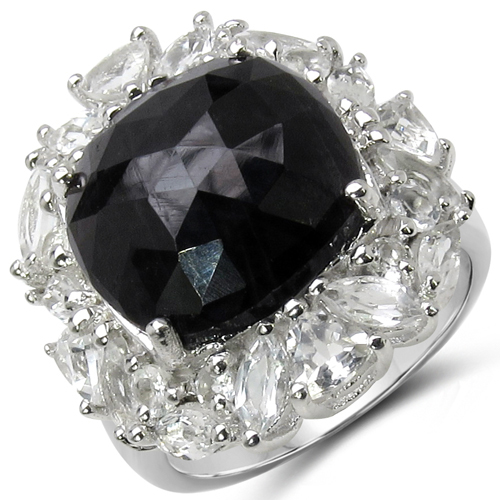 Rings-12.92 Carat Genuine Black Onyx and White Topaz .925 Sterling Silver Ring