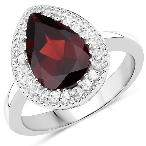 Garnet-3.94 Carat Genuine Garnet & White Topaz .925 Sterling Silver Ring