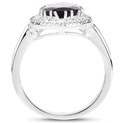3.94 Carat Genuine Garnet & White Topaz .925 Sterling Silver Ring