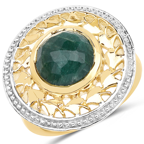 Emerald-14K Yellow Gold Plated 3.80 Carat Genuine Emerald .925 Sterling Silver Ring