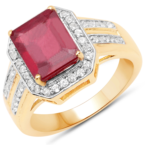 Ruby-14K Yellow Gold Plated 4.61 Carat Glass Filled Ruby and White Topaz .925 Sterling Silver Ring