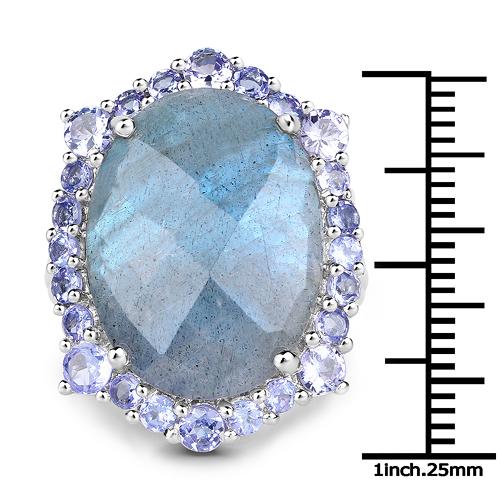 13.99 Carat Genuine Labradorite and Tanzanite .925 Sterling Silver Ring